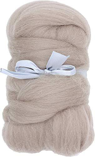 Merino Wool Roving Top - 21um Needle Felting DIY Craft Materials (-3.5OZ) (Tan)