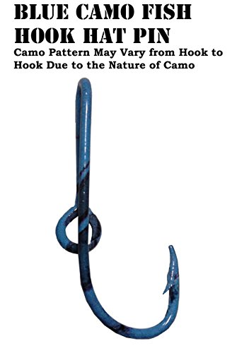 Eagle Claw Blue Camo Fish Hook Hat Pin Prym1 Shore Line Camo Hat Hook Clip ()