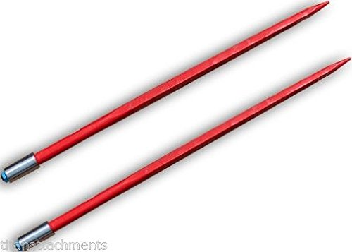 Pair Square 43 Hay Spear Conus 2 3000 lbs capacity 1 3/4 wide tine nut sleeve United Bale Spears