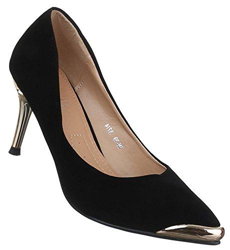 Damen Pumps Schuhe High Heels Stiletto Abendschuhe Business Club schwarz braun 36 37 38 39 40 41 Schwarz
