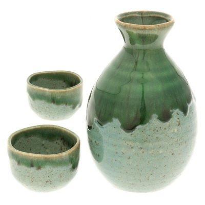 Japanese Calligraphy Sake Set, 1:2 Iriomote Green #120-588