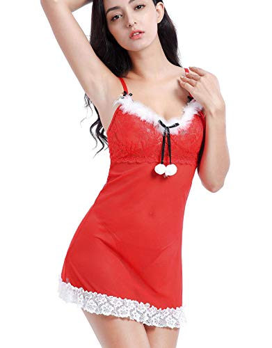 Lynmiss Women Christmas Lingerie Set Red Lace Bow Santa Babydoll Chemise, S