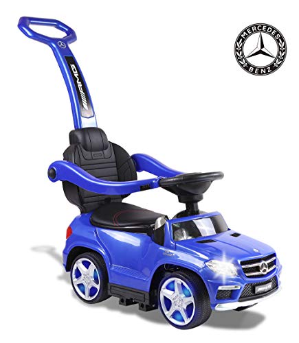 TAMCO Ride On Car Mercedes Benz GL63 Push Car with PU Seat, Footrest, MP3 Player (Blue)