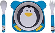 Kit Alimentação Pinguim Eco - 3 Unidades, Girotondo Baby, Branca/Azul/Preta/Amarela