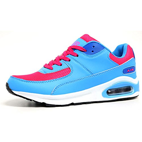 Ladies Running Trainers Air Tech Shock Absorbing Fitness Gym Sports Shoes Size 4 - 8 Coral / Blue
