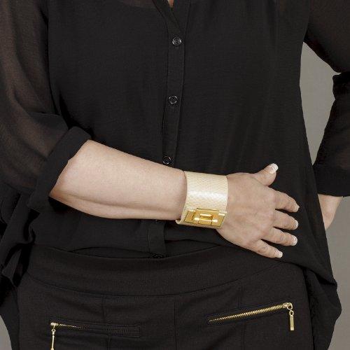 SUPER OFFRE 2 EN 1:BELUCIA FIDENZA,Grand Sac d'épaule,véritable cuir de mouton,Bicolore Caramel/Latte - Crème + GRATUIT BELUCIA ZAIRE bracelet,véritable cuir de serpent,Brillant Beige