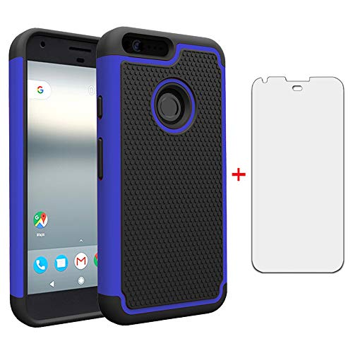 Phone Case for Google Pixel 1 with Tempered Glass Screen Protector Flim Cover and Cell Accessories Slim Hard Hybrid Rugged Soft Silicone Rubber TPU Pixel1 One 2016 5 inch Cases Women Girls Black Blue