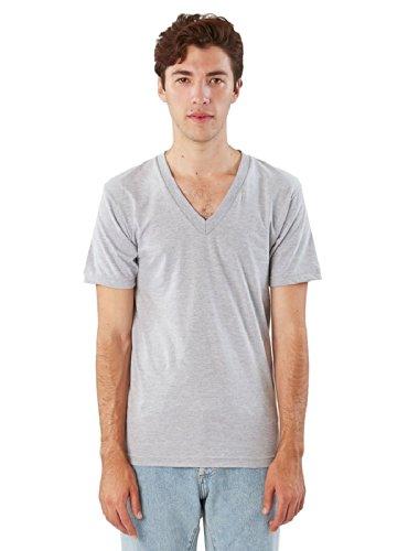 American Apparel Men Fine Jersey V-Neck T-Shirt Size 2XL Heather Grey -