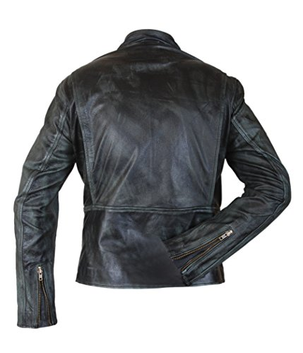 Home Racer amp;H Cafe F Daddy's Leather Cowhide Men's negro Genuine Wahlberg Jacket Mark wYggnqA6vx