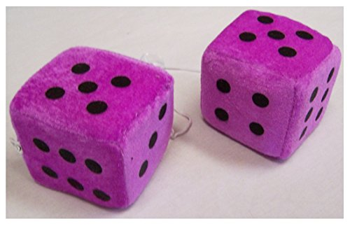 1 Pair Large Purple 3 Inch Plush Fuzzy Soft Dice - Great for Hanging on Rearview Car Mirror