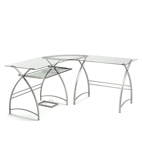 - Gibson Living Stillman L Shaped Desk in Silver