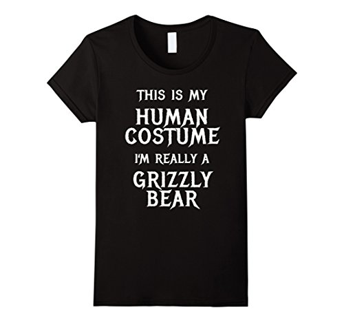 Womens I'm Really a Grizzly Bear Halloween Costume Shirt Easy Funny Medium (Grizzly Bear Halloween Costume)