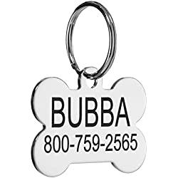 Providence Engraving Custom Engraved Stainless Steel Pet ID Tags - Personalized Front and Back Identification, For Large or Small Cats and Dogs, Bone, Regular