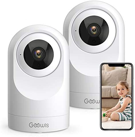WiFi Camera Indoor, Goowls 1080P HD Security Camera Smart Baby Home Wireless IP Camera for Pet/Dog/Nanny Monitor Pan/Tilt Night Vision Motion Detection 2-Way Audio Compatible with Alexa 2 Pack