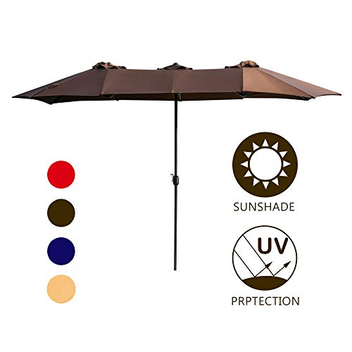 LOKATSE HOME Double-Sided Market Patio Outdoor Umbrella 15 Feet Garden Aluminum Twin Sun Canopy with Crank, 2 Middle Brown ()