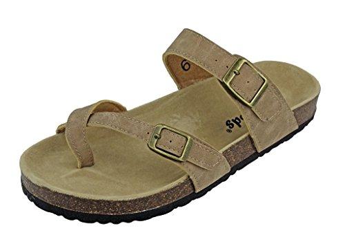 Outwoods Women's Bork-30 Vegan Leather Adjustable Strap Toe-Loop Buckle Flats Sandals