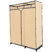 HomCom 63-Feet Portable Closet Wardrobe Garment Storage Organizer Clothes Shelf Hanger Rack, Cream