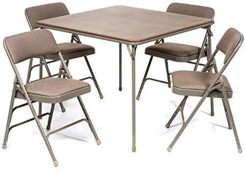 - XL Series Folding Card Table and Fabric Padded Chair Set (5pc) - Comfortable Padded Upholstery - Fold Away Design, Quick Storage and Portability - Premium Quality (Beige)