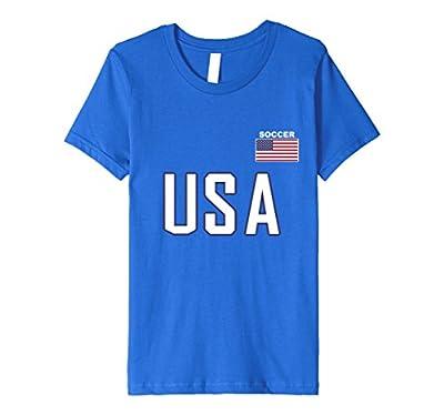 USA Flag Soccer T-shirt Cool Pocket Sporting Team Gift Tee
