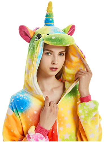 Adult Pajama Unicorn Costume Onesie for Women Men Teen Girl Animal Onsie Rainbow,New Rainbow Unicorn,S Fit Height 59