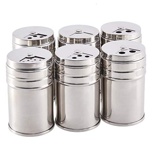 Seasoning Bottle, 6-Piece Stainless Steel Cruet For Kitchen Cooking And Outdoor Grilling Rotary Shaker Kitchen Gadget Silver (Condiment Stainless Shakers Steel)