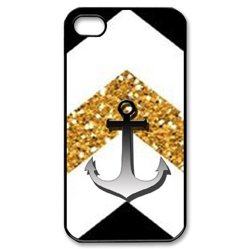 Alexis iPhone 4,4s Case,Personalized Custom Cute Chevron Anchor Printed,Unique Design Protective TPU Hard Phone Case Cover