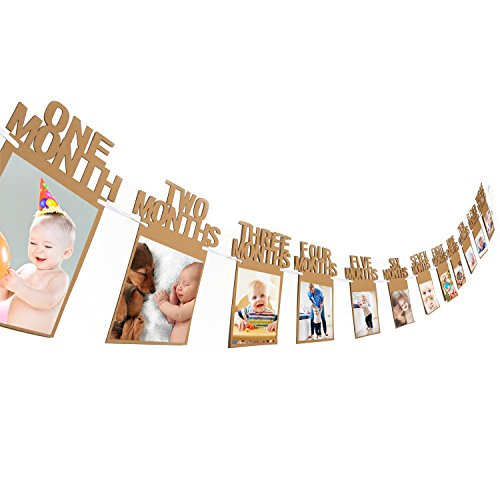 Bememo 1st Birthday Bunting Garland Baby Photo Banner Baby 1-12 Month Photo Prop Party Bunting Decor Thickened Kraft Card Paper -