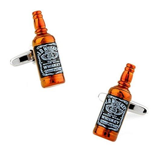 SS Jack Daniels Wine Beer Bottle Cufflinks for Men