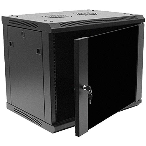 Deluxe Shelf Rack - NavePoint 9U Deluxe IT Wallmount Cabinet Enclosure 19-Inch Server Network Rack with Locking Glass Door 16-Inches Deep Black with Shelves