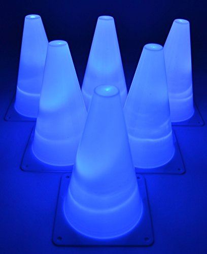 GlowCity Light-Up Soccer Training Cones - 6 x 7-inch Super-Bright LED Agility Drill Cones - for Basketball, Athletics and Glow-in-The-Dark Practice - Batteries Included (6 Pack) (Blue)