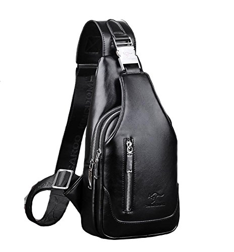 Lightweight Synthetic Leather Sling Bags Student Shoulder Bag Chest Messenger Bag Shoulder Bag Diagonal Portable Travel Riding Waterproof Laptop Theft Leisure, Brown Black