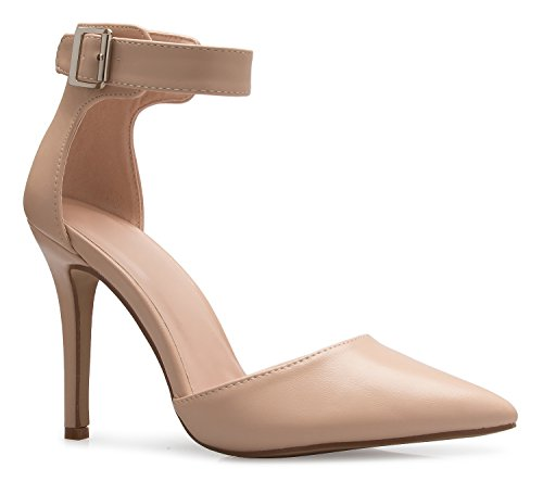 (OLIVIA K Women's Sexy Classic D'Orsay Pointed Closed Toe High Stiletto Heel Pump | Adjustable Ankle Strap | Classic, Comfortable)