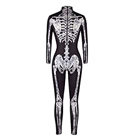 - 4126ZSbEe7L - Pink Queen Womens Halloween Cosplay Skull Skeleton Print Costume One-Piece Catsuit Bodysuit