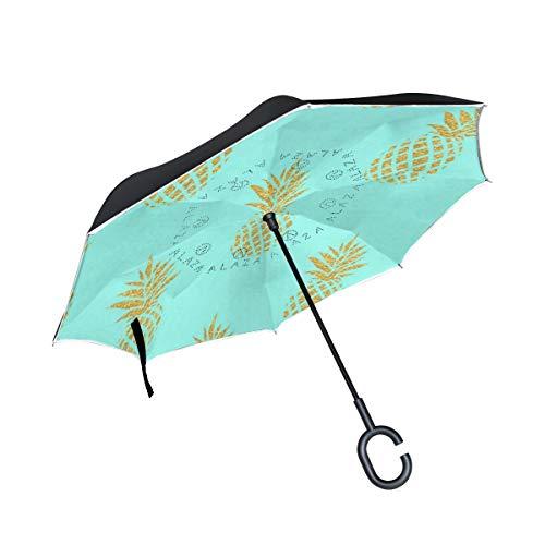 Reverse Umbrella Pineapple Gold Blue Inverted Umbrella Windproof Anti-UV