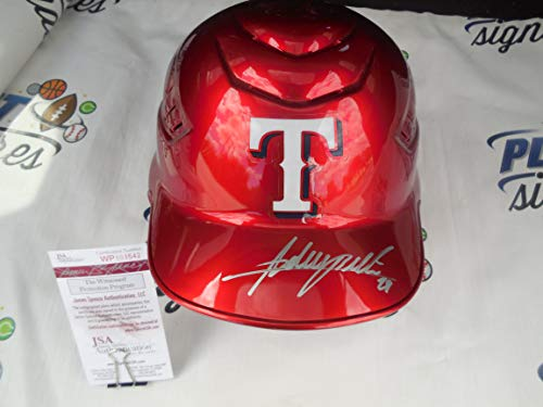 (Adrian Beltre Signed Texas Rangers Red Full Size MLB Metallic Chrome Batting Helmet JSA COA)