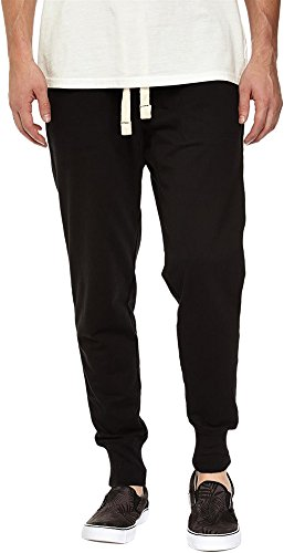 Mrignt Men Casual Cotton Elastic Waist Trousers Drawstring Jogging Harem Sweatpants(Black,Large)