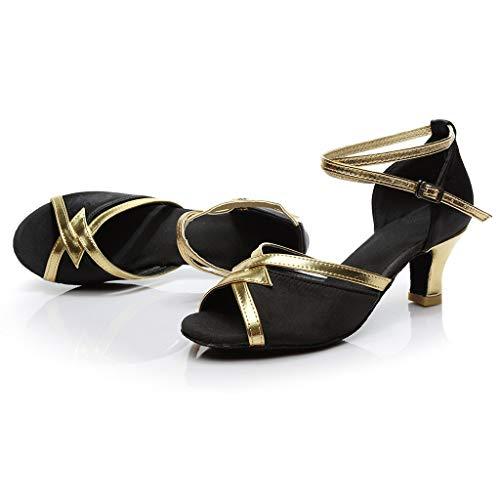 Lentejuelas Vestir Moderna Sandalias Negro Grandes Bajo De C Latino 5jLAR4q3