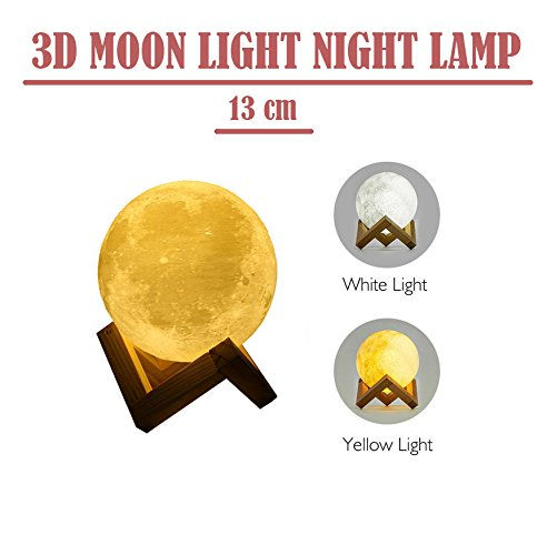 Newest Night Light CoolKo 13cm 5.1 inch Diameter 3D Printed Lunar Moon Lamp Back View, Rechargeable Home Decor White & Yellow Dimmable Touch Control Brightness with Wooden Frame and Charging - Frames 3d Printed