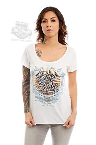 Harley-Davidson Womens Biker Babe Trademark B&S White Short Sleeve T-Shirt (Medium)