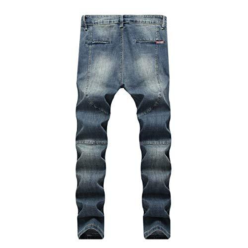 De Azul Slim para Rectos Jeans R Mezclilla Hombres De Pantalones Pantalones De La Mezclilla Jeans De Moda Ropa Fit Media Cintura Elásticos Vintage rBBpXqU