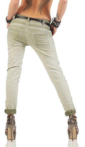 ZARMEXX Pantalones de las mujeres con los pantalones vaqueros holgados novio cinturón de los pantalones de Jeggings Chinos estrellas -Imprimir ejercito