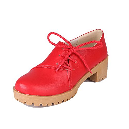 Amoonyfashion Kvinnor Rund Tå Lace-up Pu Fasta Kattunge Klackar Pumpar-skor Röda