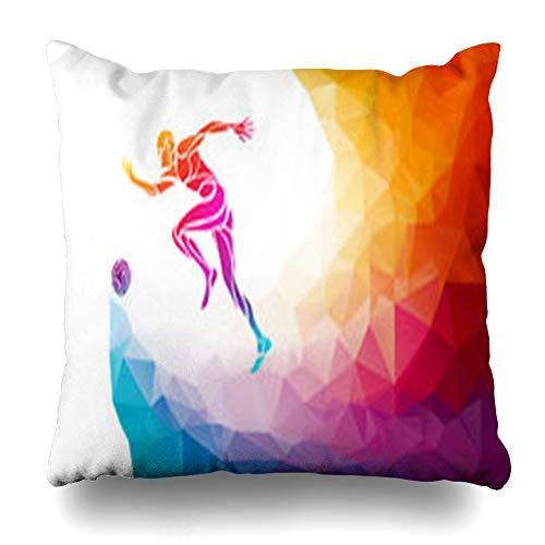 AileenREE Throw Pillow Covers Player Creative Soccer Football Kicks Ball in Style Abstract Spectrum Polygon Rainbow Sport Sports Pillowcase Square Size 16 x 16 Inches Home Decor Cushion Cases (Creative Digital Player Case)