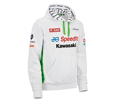 Kawasaki British Superbike Kapuzen Pullover ! LOGO Hoodie ! weiß grün von BikerWorld