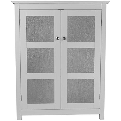 (Highland White Double Glass Door Floor Cabinet)
