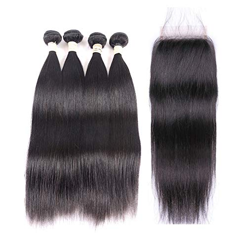 Brazilian Virgin Straight Hair Bundles with Closure 20 22 22 24 +18 4x4 Free Part With Baby Hair 100% Unprocessed Brazilian Straight Human Hair Bundles with Lace Closure Natural Black from MDL