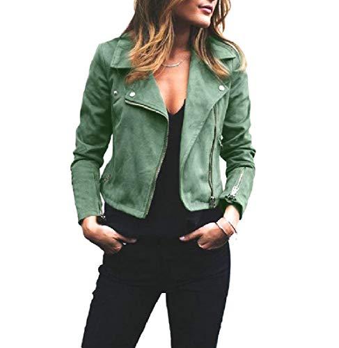 Howme-Women Short Mini Turn-Down Collar Zip Outwear Overcoat Jacket Green