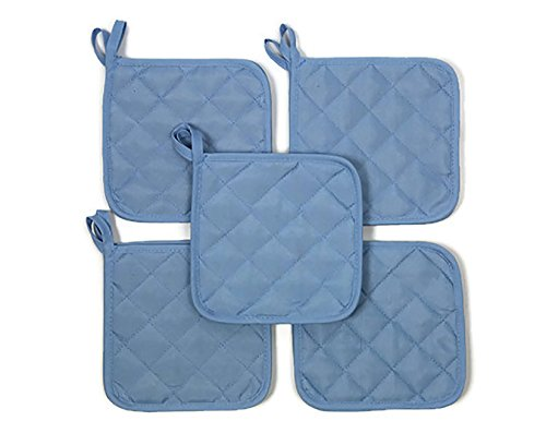 Sky Blue (Ten) 10 Pack Pot Holders 6.5 Square Solid Color Everday (Quilted Pot Holders)