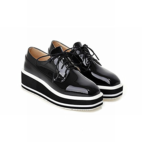 Carolbar Patent Wedge Lace Heel Fashion Leather Womens up Popular Oxfords Platform Black Shoes raqrg