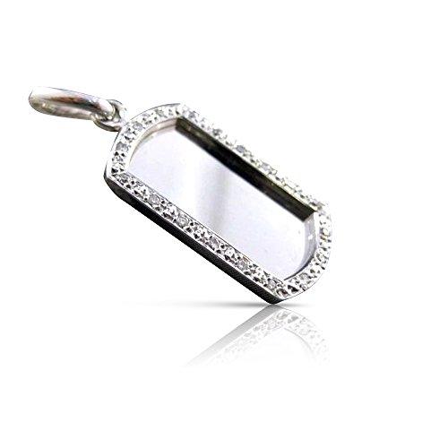 Milano Jewelers .54CT DIAMOND 14KT WHITE GOLD ENGRAVABLE DOG TAG NAME PLATE PENDANT 17143 14kt Gold Diamond Name Pendant